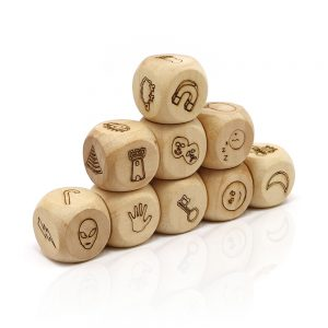 wooden story maker dice